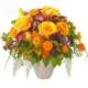 Kräftiger Saisonstrauss mit Rosen, Herbstblumen, Exoten, feines Grün.