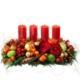 Advents Fries mit Kerzen, Fries, Adventarrangement, Tanne, Beeren und Früchten