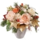 Zarter Advent mit Rosen, Alstromeria, Chrysanthemen, Aster, Weihnachtsdeco, Gold, Tanne, Führe und Beeren