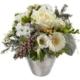 Winterstrauss mit weissen Rosen, Gerbera, Germini, Freesia, Zapfen, Konifere, Tanne und Chrysanthemen