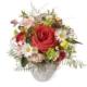 Kleines Frühlingsgesteck mit Rosen, Margriten und Ranunkeln