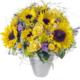 Unser Sonnenschein mit Sonnenblumen, Rosen, Gräsern und blauer Sonnenblume
