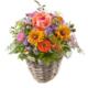 Gartenblumen Korb mit Rosen, Germini, Agaratum und Rundbeckia